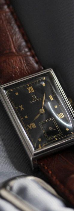 オメガ アンティーク腕時計 上品な黒と金のコントラスト 【1943年製】-W1481-12