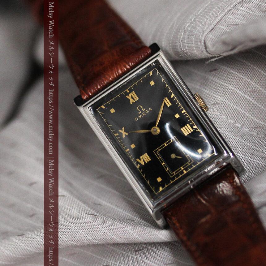 オメガ アンティーク腕時計 上品な黒と金のコントラスト 【1943年製】-W1481-13