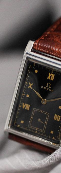 オメガ アンティーク腕時計 上品な黒と金のコントラスト 【1943年製】-W1481-14