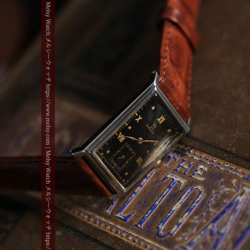 オメガ アンティーク腕時計 上品な黒と金のコントラスト 【1943年製】-W1481-3