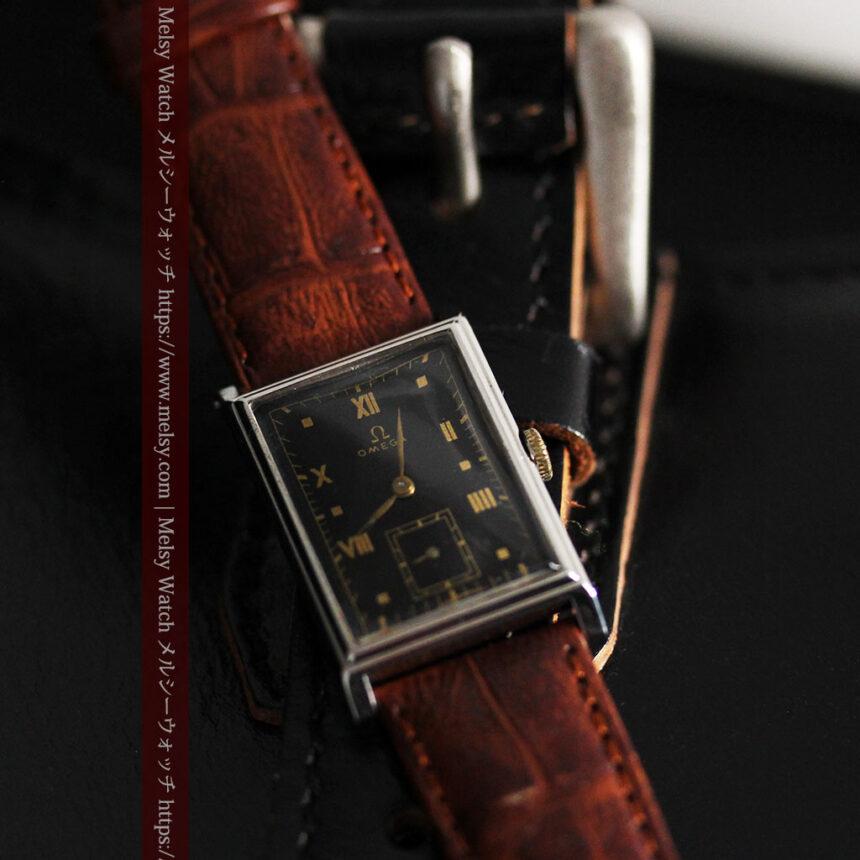 オメガ アンティーク腕時計 上品な黒と金のコントラスト 【1943年製】-W1481-4