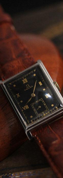 オメガ アンティーク腕時計 上品な黒と金のコントラスト 【1943年製】-W1481-5