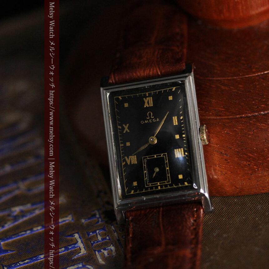 オメガ アンティーク腕時計 上品な黒と金のコントラスト 【1943年製】-W1481-6