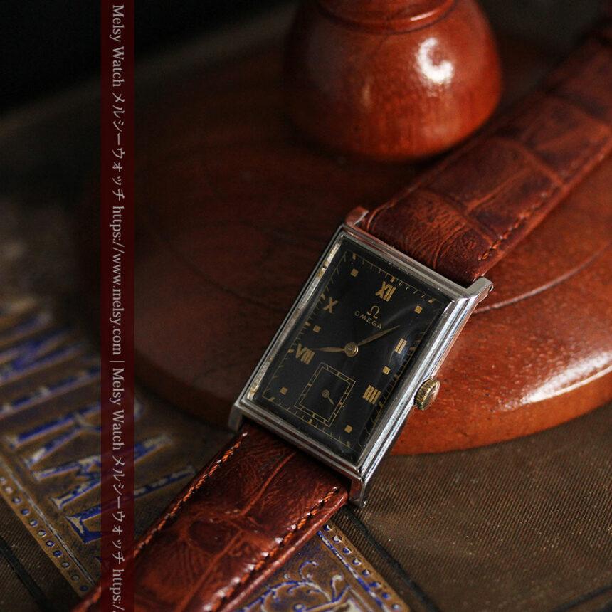 オメガ アンティーク腕時計 上品な黒と金のコントラスト 【1943年製】-W1481-7