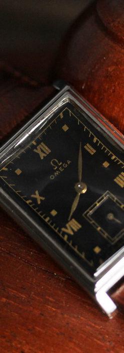 オメガ アンティーク腕時計 上品な黒と金のコントラスト 【1943年製】-W1481-8