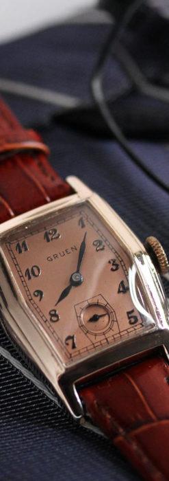 グリュエン 縦長六角形のアンティーク腕時計 ローズ色 【1950年頃】-W1482-1