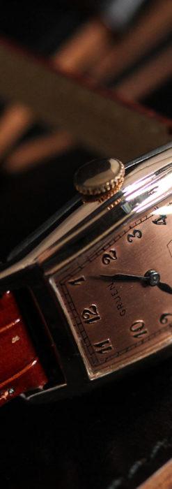 グリュエン 縦長六角形のアンティーク腕時計 ローズ色 【1950年頃】-W1482-10