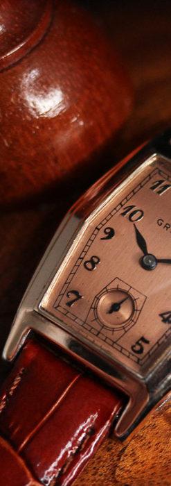 グリュエン 縦長六角形のアンティーク腕時計 ローズ色 【1950年頃】-W1482-12