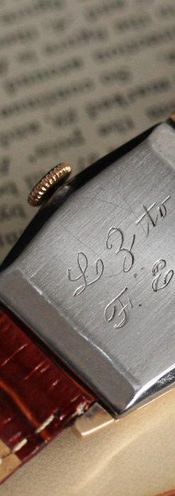 グリュエン 縦長六角形のアンティーク腕時計 ローズ色 【1950年頃】-W1482-14