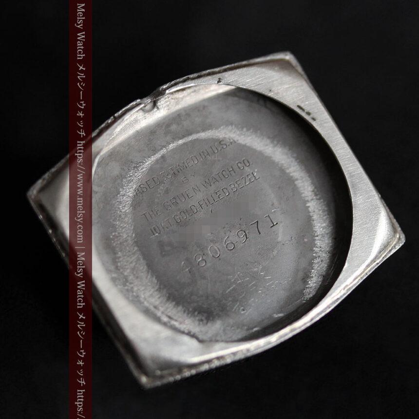 グリュエン 縦長六角形のアンティーク腕時計 ローズ色 【1950年頃】-W1482-15