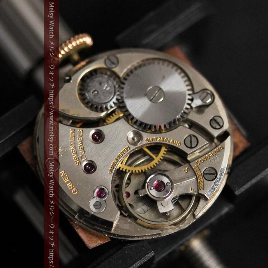 グリュエン 縦長六角形のアンティーク腕時計 ローズ色 【1950年頃】-W1482-16