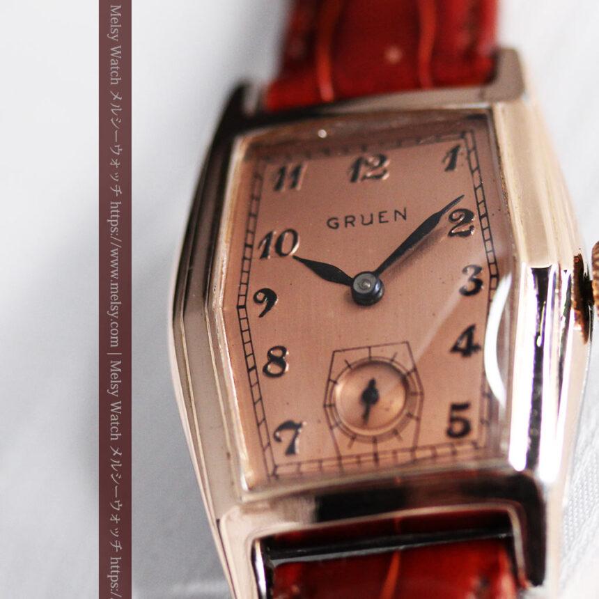 グリュエン 縦長六角形のアンティーク腕時計 ローズ色 【1950年頃】-W1482-5