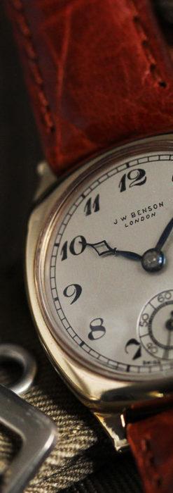 英国ベンソン クッション型の金無垢アンティーク腕時計 【1950年頃】-W1484-12