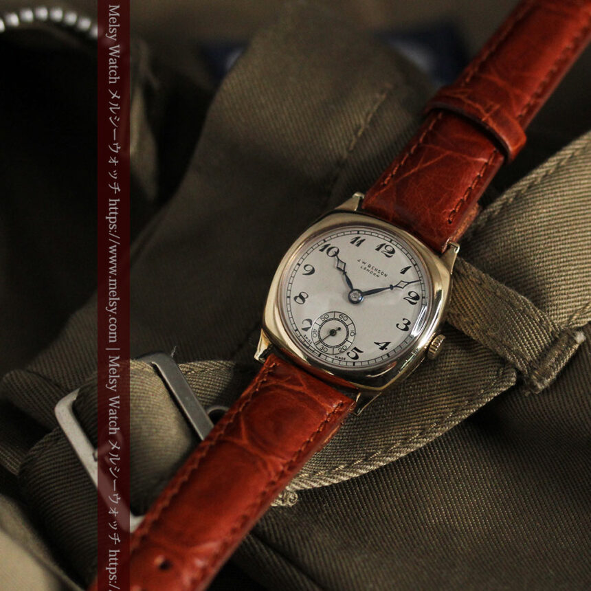 英国ベンソン クッション型の金無垢アンティーク腕時計 【1950年頃】-W1484-13