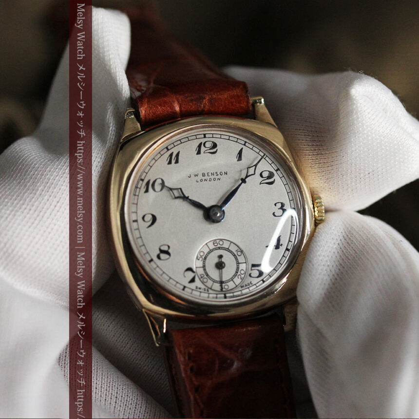 英国ベンソン クッション型の金無垢アンティーク腕時計 【1950年頃】-W1484-14