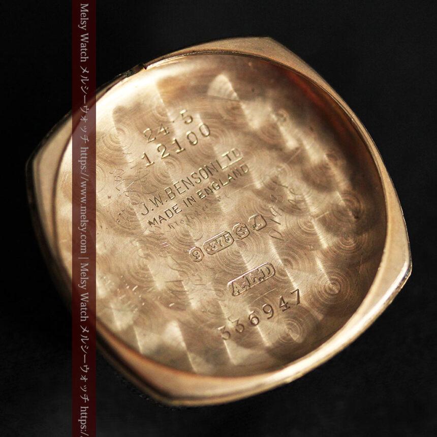 英国ベンソン クッション型の金無垢アンティーク腕時計 【1950年頃】-W1484-17