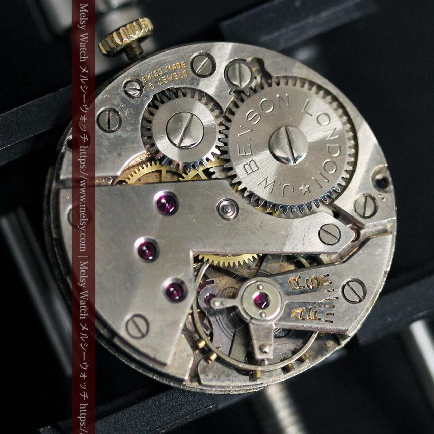 英国ベンソン クッション型の金無垢アンティーク腕時計 【1950年頃】-W1484-18