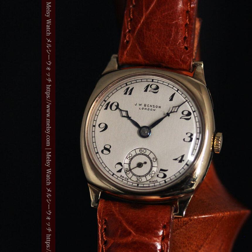 英国ベンソン クッション型の金無垢アンティーク腕時計 【1950年頃】-W1484-2