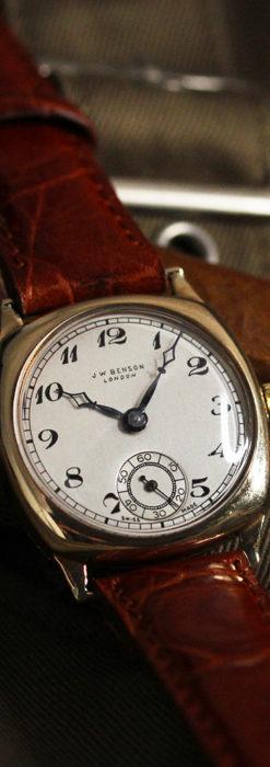 英国ベンソン クッション型の金無垢アンティーク腕時計 【1950年頃】-W1484-3