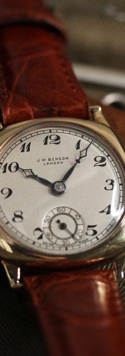 英国ベンソン クッション型の金無垢アンティーク腕時計 【1950年頃】-W1484-4
