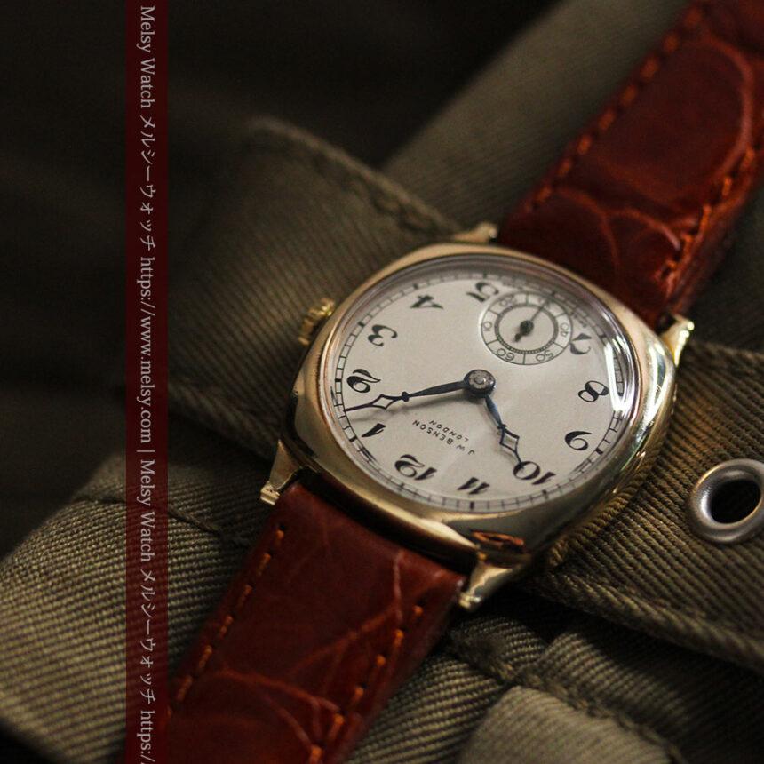 英国ベンソン クッション型の金無垢アンティーク腕時計 【1950年頃】-W1484-5
