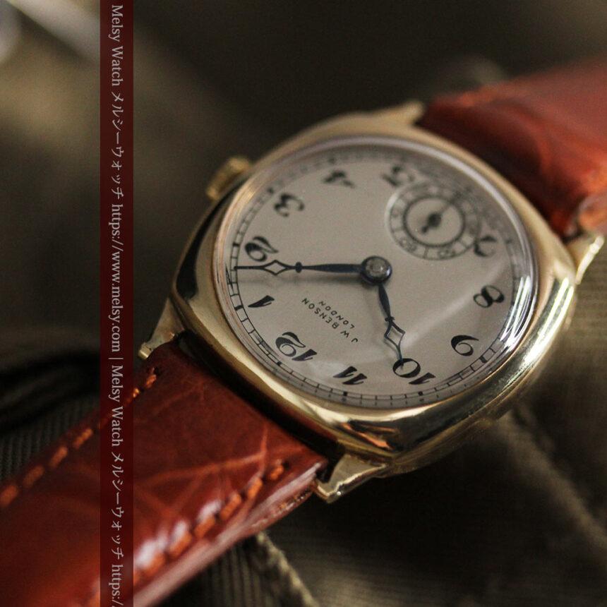 英国ベンソン クッション型の金無垢アンティーク腕時計 【1950年頃】-W1484-7