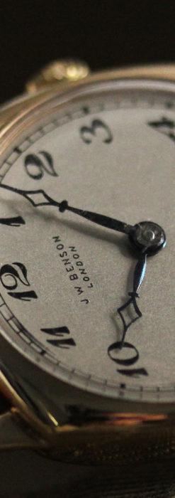 英国ベンソン クッション型の金無垢アンティーク腕時計 【1950年頃】-W1484-8