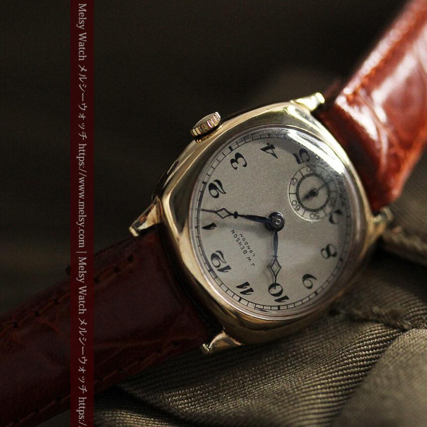 英国ベンソン クッション型の金無垢アンティーク腕時計 【1950年頃】-W1484-9