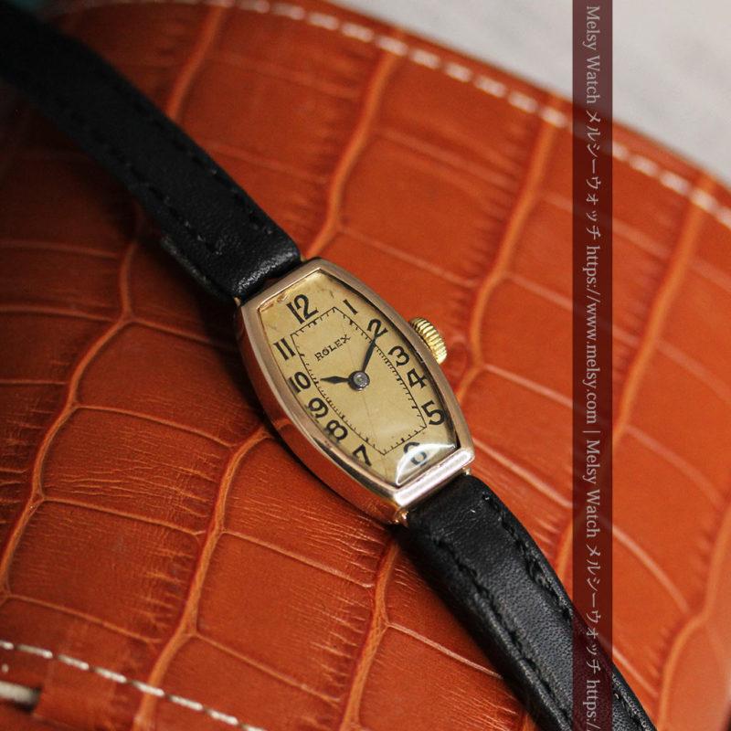 ロレックス 細長い樽型の女性用金無垢アンティーク腕時計 【1930年頃】-W1486-1