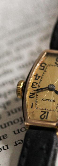 ロレックス 細長い樽型の女性用金無垢アンティーク腕時計 【1930年頃】-W1486-10