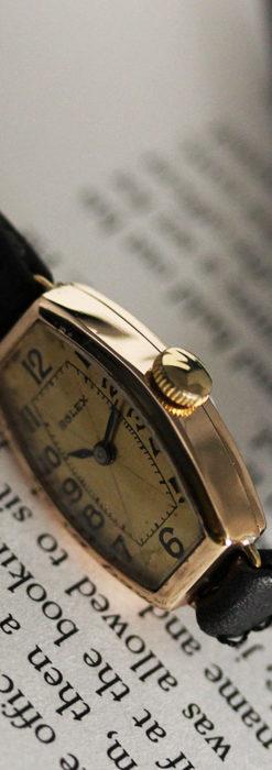 ロレックス 細長い樽型の女性用金無垢アンティーク腕時計 【1930年頃】-W1486-11