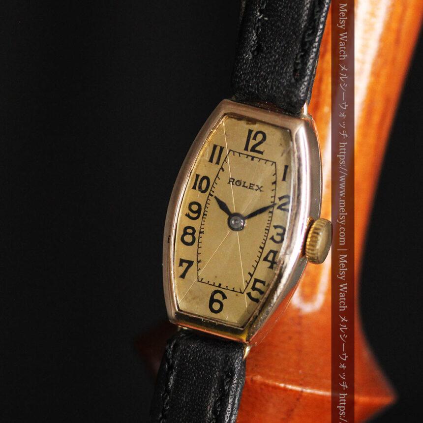ロレックス 細長い樽型の女性用金無垢アンティーク腕時計 【1930年頃】-W1486-12