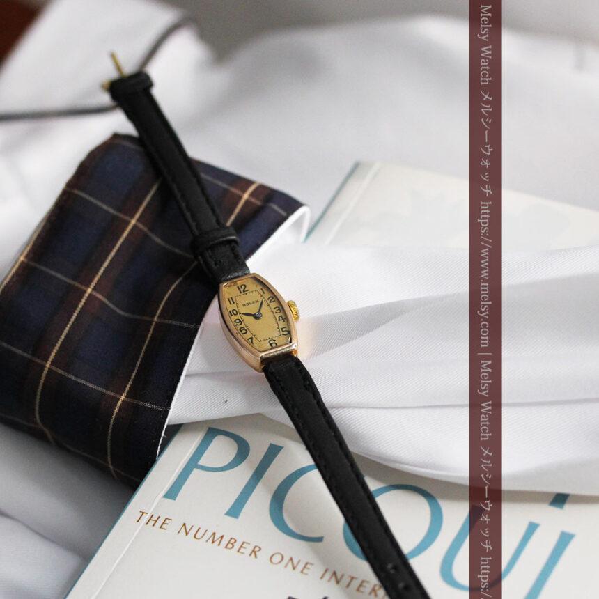 ロレックス 細長い樽型の女性用金無垢アンティーク腕時計 【1930年頃】-W1486-13