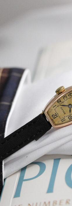 ロレックス 細長い樽型の女性用金無垢アンティーク腕時計 【1930年頃】-W1486-14