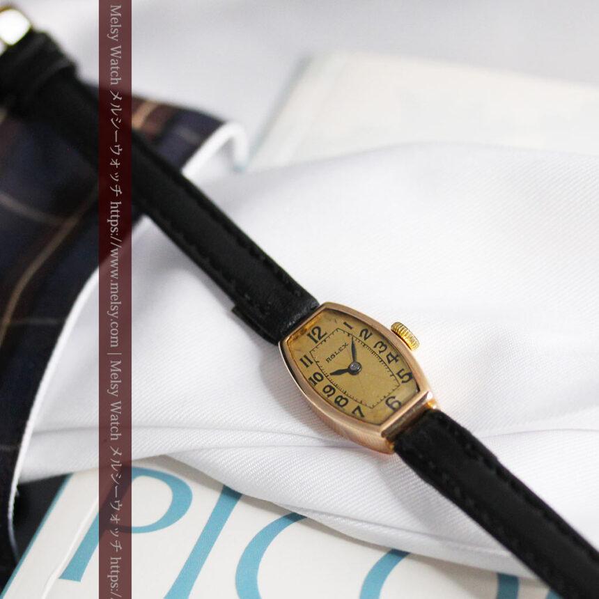 ロレックス 細長い樽型の女性用金無垢アンティーク腕時計 【1930年頃】-W1486-15