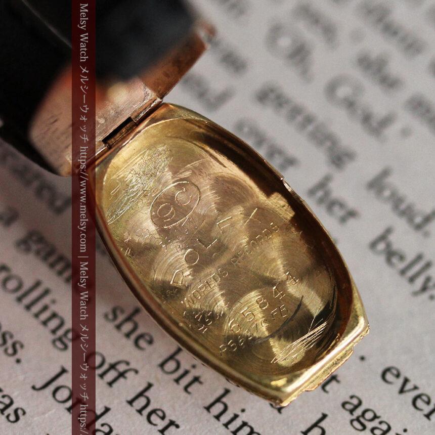 ロレックス 細長い樽型の女性用金無垢アンティーク腕時計 【1930年頃】-W1486-17