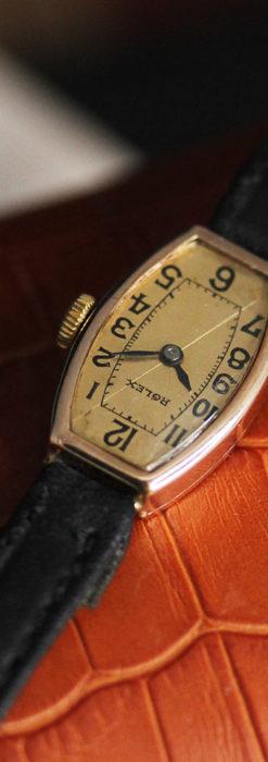 ロレックス 細長い樽型の女性用金無垢アンティーク腕時計 【1930年頃】-W1486-2