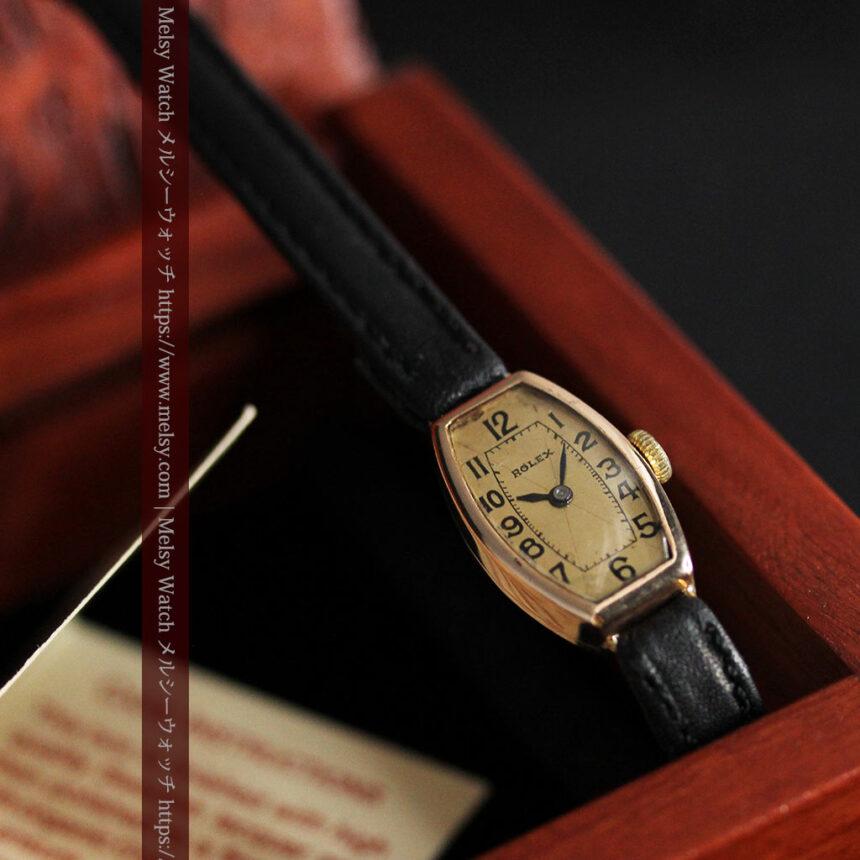ロレックス 細長い樽型の女性用金無垢アンティーク腕時計 【1930年頃】-W1486-3