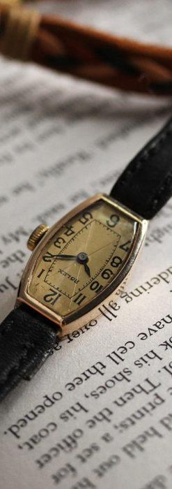 ロレックス 細長い樽型の女性用金無垢アンティーク腕時計 【1930年頃】-W1486-5