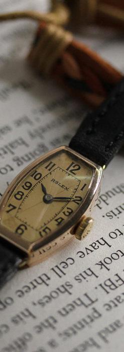 ロレックス 細長い樽型の女性用金無垢アンティーク腕時計 【1930年頃】-W1486-6