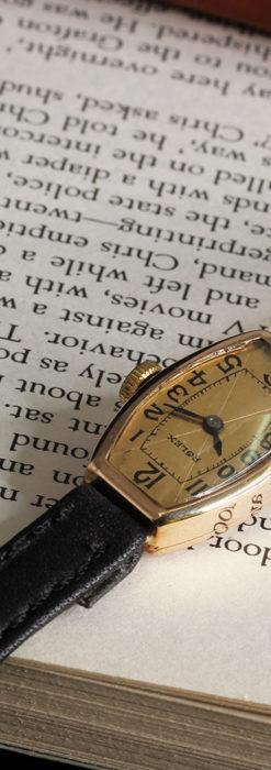 ロレックス 細長い樽型の女性用金無垢アンティーク腕時計 【1930年頃】-W1486-7