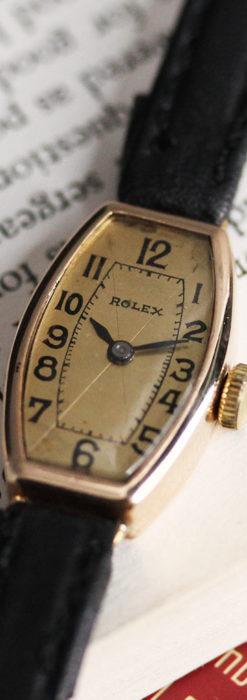 ロレックス 細長い樽型の女性用金無垢アンティーク腕時計 【1930年頃】-W1486-8
