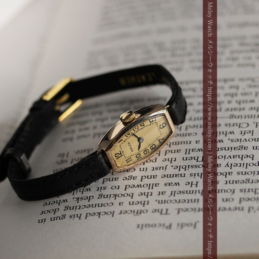 ロレックス 細長い樽型の女性用金無垢アンティーク腕時計 【1930年頃】-W1486-9