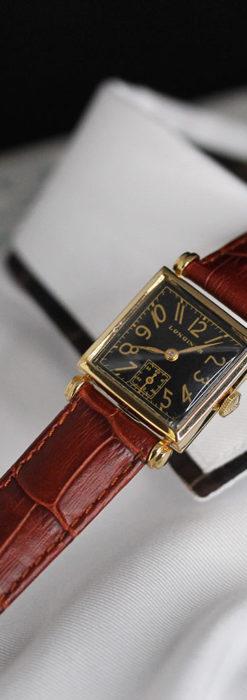 黒文字盤・四角形のロンジン女性用アンティーク腕時計 【1941年製】-W1487-1