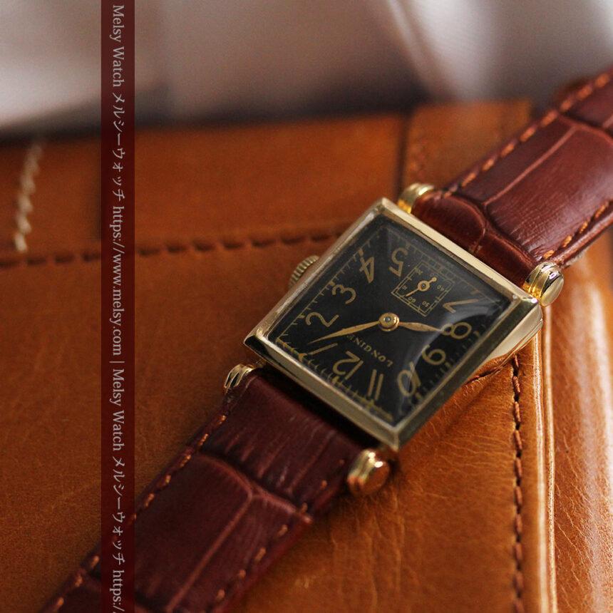 黒文字盤・四角形のロンジン女性用アンティーク腕時計 【1941年製】-W1487-10