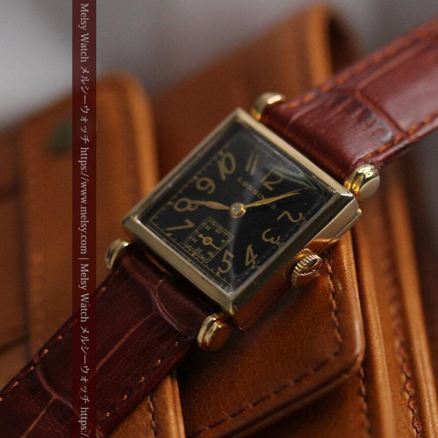黒文字盤・四角形のロンジン女性用アンティーク腕時計 【1941年製】-W1487-11