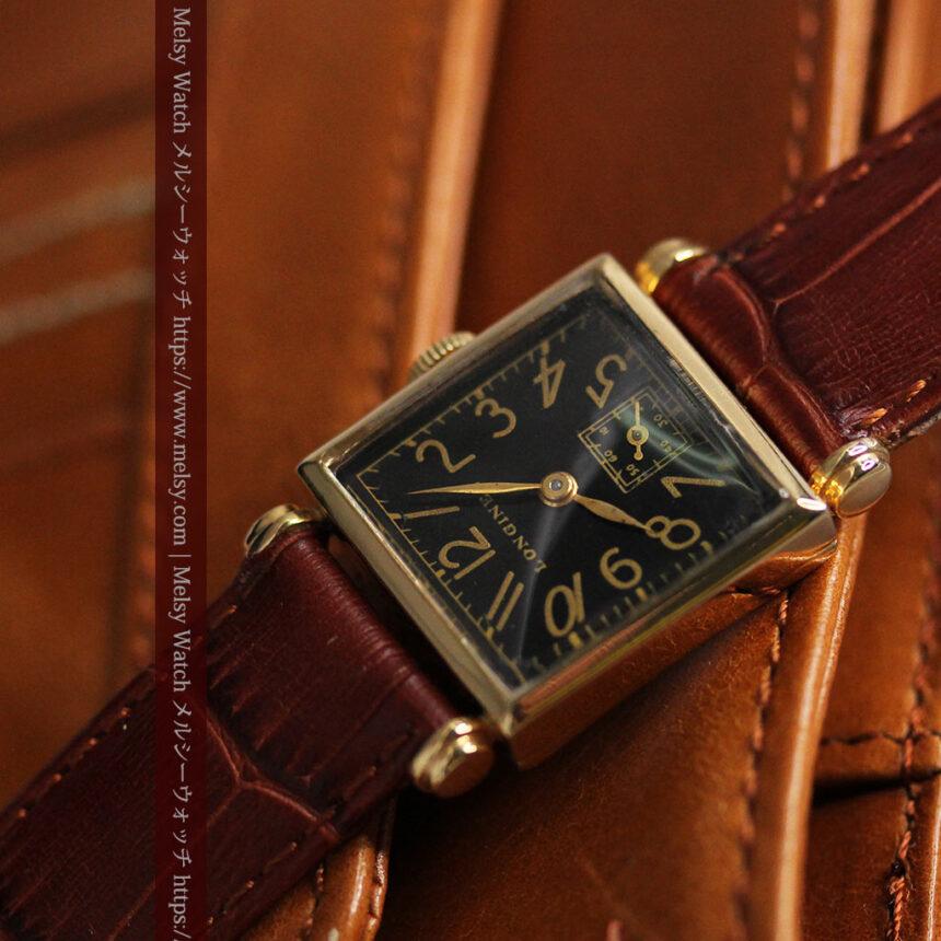 黒文字盤・四角形のロンジン女性用アンティーク腕時計 【1941年製】-W1487-12