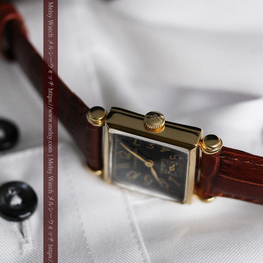 黒文字盤・四角形のロンジン女性用アンティーク腕時計 【1941年製】-W1487-13