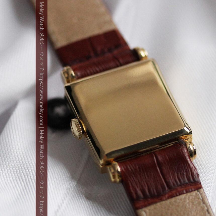 黒文字盤・四角形のロンジン女性用アンティーク腕時計 【1941年製】-W1487-14