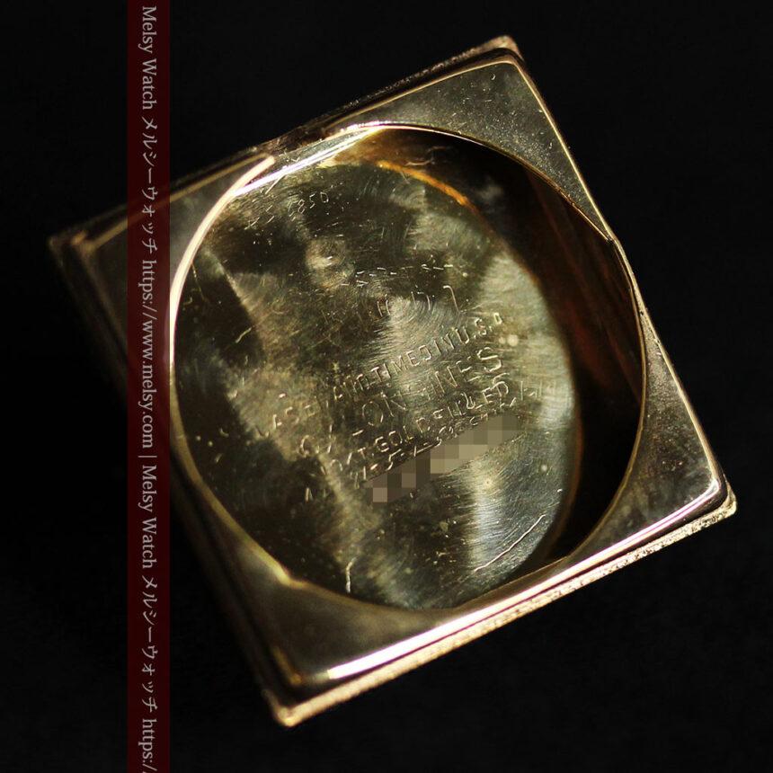 黒文字盤・四角形のロンジン女性用アンティーク腕時計 【1941年製】-W1487-15